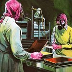 Medical researchers at work Poster Art Print by Clive Uptton