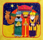 Fine Art Print of Three Kings and Camel by Linda Benton