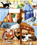 Grandma and 10 cats in the kitchen Poster Art Print by Julie Nicholls