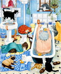 Grandma and 10 cats in the bathroom Poster Art Print by Julie Nicholls
