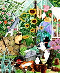 Grandma and 10 cats in the greenhouse Poster Art Print by Linda Benton