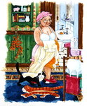 Grandma and 2 cats and nightdress Poster Art Print by Linda Benton