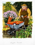 Grandma and 2 cats and pumpkin harvest Poster Art Print by Edward Killingworth Johnson