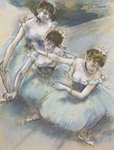 Three Dancers in a Diagonal Line on the Stage, c.1882 Poster Art Print by Edgar Degas