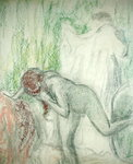 Nude getting out of the Bath Poster Art Print by Pierre-Auguste Renoir