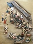 Folk painting depicting a market scene Poster Art Print by William Hogarth