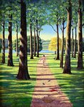 Stroll in Richmond Park, 1995 Poster Art Print by Liz Wright
