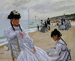 Fine Art Print of On the Beach at Trouville, 1870-71 by Claude Monet