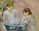 Children at the Basin, 1886 Poster Art Print by Pierre-Auguste Renoir