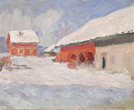 Norway, Red Houses at Bjornegaard, 1895 Poster Art Print by Albert-Charles Lebourg