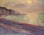 The Beach at Pourville, Setting Sun, 1882 Poster Art Print by Claude Monet