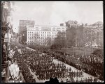 Aerial view of men marching in the Republican Gold Standard Parade on Broadway at City Hall Park, New York, 1898 Poster Art Print by French School