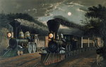 The 'Lightning Express' Trains, pub. by Currier and Ives, New York, 1863 Poster Art Print by Anonymous