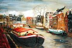 Red House Boat, Amsterdam, 1999 Poster Art Print by Antonia Myatt
