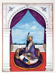 Maharajah Karak Singh, from 'The Kingdom of the Punjab, its Rulers and Chiefs, volume I', a volume of 27 watercolour studies by an unidentified Indian artist, c.1840 Poster Art Print by French School