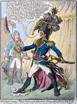 Buonaparte hearing of Nelson's Victory swears by his Sword to Extirpate the English from off the Earth, published by Hannah Humphrey in 1798 Poster Art Print by James Gillray