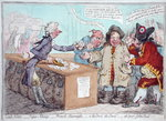 Opening of the Budget, or John Bull giving his breeches to save his Bacon, published by Hannah Humphrey in 1796 Poster Art Print by James Gillray