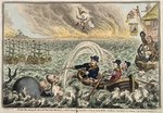 British Tars towing the Danish Fleet into Harbour, or The Broadbottom Leviathan trying to swamp Billy's old Boat, & the little Corsican tottering on the Clouds of Ambition, 1807 Poster Art Print by James Gillray