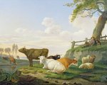 Cows and Shepherd Poster Art Print by Francois Boucher