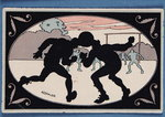 Card depicting a silhouette of two players heading a ball Poster Art Print by P.J. Crook