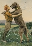 An Irish wolfhound, on his hind legs, stands taller than his master, 1919 Poster Art Print by Maylee Christie