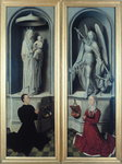 View of The Last Judgement with its panels closed, depicting the donors, Angelo di Jacopo Tani and his wife, Caterina de Tanagli, below the Madonna and Child and St. Michael, 1473 Poster Art Print by Jan van Eyck