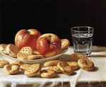 Still life with apples and biscuits, 1862 Poster Art Print by Clive Uptton