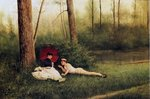 A Rest After Boating, 1885 Poster Art Print by Charles James Lewis