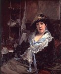 Fine Art Print of Portrait of Madame Jeanne Samary by Jules Bastien-Lepage