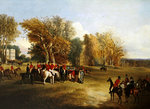 A hunt meet in a parkland with a country house Poster Art Print by Abraham Cooper