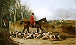 Crocteth Harriers, back of Stanfield Poster Art Print by Jacob Isaaksz. or Isaacksz. van Ruisdael