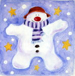 Cosy Snowman, 2001 Poster Art Print by Alex Smith-Burnett
