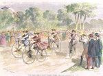 Fine Art Print of Original Costumes for the Velocipede Race in Bordeaux, 1868 by Godefroy Durand