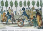 A velocipede race at Jardin du Luxembourg in 1818 after an engraving of the time, engraved by P. Comte Poster Art Print by English School