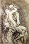 A Study of Rodin's Kiss in his Studio Poster Art Print by Alfred George Stevens