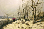 Snowy winter's day with figures on the path Poster Art Print by John Atkinson Grimshaw