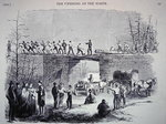 Men of the eighth Massachusetts Regiment repairing the bridges on the railroad from Annapolis to Washington D.C., 1861 Poster Art Print by American School