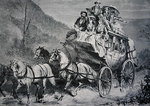 Travelling through the American West by Concord Stagecoach in the 1860s Poster Art Print by American School