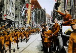 Hitler Youth march past Baldur von Schirach, Nuremberg, 1933 Poster Art Print by German Photographer