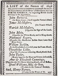 List of merchants who continued importing British goods contrary to an agreement made by the North American Body of Merchants, published in 'The North American Almanac', 1770 Poster Art Print by French School