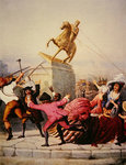 New York patriots pull down the statue of George III at Bowling Green, 9th July 1776, 1854 Poster Art Print by Charles Monnet
