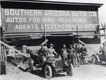 Early motor car and garage, Southern Arizona, c.1910