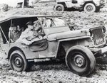 General Douglas MacArthur riding a Jeep on Leyte during the Second World War Poster Art Print by French School