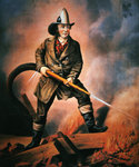 The American Fireman: Facing the Enemy, published by Currier & Ives, 1858 Poster Art Print by Francois Joseph Heim