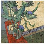 Globe Artichokes on a Red Chair Poster Art Print by Jason Bowyer