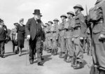 Winston Churchill inspects Home Guard personnel in Hyde Park, London, 14th July 1941 Poster Art Print by English Photographer
