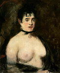 Brunette with bare breasts Poster Art Print by Pierre-Auguste Renoir