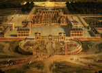 View of the Chateau, Gardens and Park of Versailles from the Avenue de Paris, detail of the Chateau, 1668 Poster Art Print by Peter Nicholls