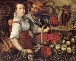 A Market Scene with Fruit and Vegetable Sellers Poster Art Print by Theodore Chasseriau