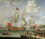 The Royal Yacht off shore Poster Art Print by Theodore de Bry